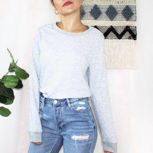 Sharagano Pearl Pullover Sweatshirt Heathered Gray